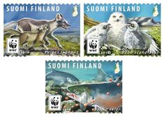 """The last Finnish winter's postage stamps showcase the beauty of arctic animals. Three """"Endangered Animals"""" stamps released by Finland Post – World Stamp News Arctic Animals, Postage Stamps, Elephants, Europe, Winter, Vintage, Beauty, Atlantic Salmon, Finland"""