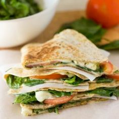 Spinach Tomato Quesadillas. Easy to make and ready in 15 minutes max. It's packed full of vitamins K and A, B2 and B6, C, calcium and potassium. Incredible.