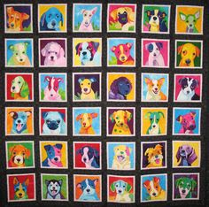 "Ah-mazing applique quilt!! ""Pup Art"" by Nancy Brown of Oakland, CA."