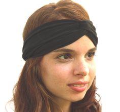 Turban Headband Headwrap in Black. $10.00, via Etsy.