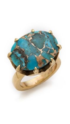 The claw setting makes me hesitate, but maybe that's just what makes this ring special. (push BY PUSHMATAaHA The Claw Ring) Turquoise Jewelry, Gold Jewelry, Jewelry Box, Jewelry Rings, Unique Jewelry, Jewelry Accessories, Fine Jewelry, Jewelry Design, Turquoise Stone