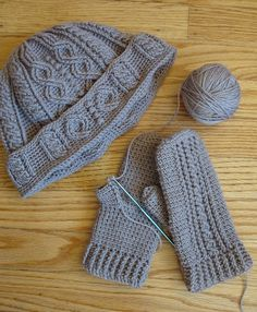 We are Mitten Smitten by These Amazing Crochet Patterns. the mittens are on ravelry, but the hat is not.  love the hat, but cannot find any pattern