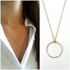 750/000 Gold Circle Halskette, Halskette großer Ring - Kreis wir 750 gelb gold vergoldete Halskette Kette