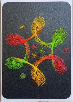 Fadengrafik - Grußkarten - Set mit dem abgebildeten Fadengrafik-Motiv gearbeitet mit Ultra-Neon-garn (leuchtet unter UV-Schwarzlicht) bestehend aus: 1 Doppelkarte / Klappkarte im Format A6...