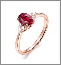Metal + Purity – 14K Rose Gold Number of Side Diamonds - 6 pcs Number of Center Oval Ruby- 1 For customization queries contact on whatsapp +919216113377 Rose Gold Engagement Ring, Diamond Wedding Rings, Ringe Gold, Gold Silber, Gold Rings, Gemstone Rings, Ruby Gemstone, Sapphire Diamond, Anniversary Rings