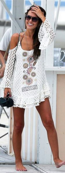 Lace Boho Chic beach swimsuit cover up dress, a Bohemian inspired summer fashion trend.