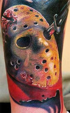 Jason friday the tattoo, ink, by artist Nikko Hurtado, ankle tattoo Creepy Tattoos, 13 Tattoos, Pin Up Tattoos, Time Tattoos, Cool Tattoos, Awesome Tattoos, Tatoos, Interesting Tattoos, Nikko Hurtado