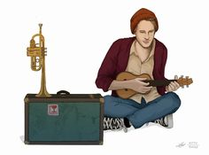 Briefly spotted a dude playing the ukulele at a metro station. His little set-up of a vintage suitcase with a trumpet on top stuck with me. So I sketched him up! Music Illustration, Illustrations, Metro Station, Ukulele, Just In Case, Kitty, Graphic Design, Trumpet, My Style