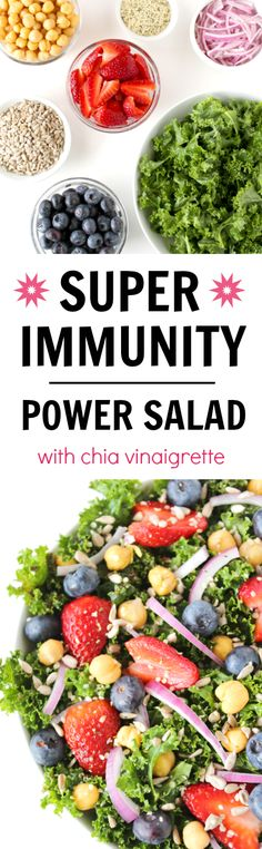 YES!! Power up your immune system with this nutrient-rich kale salad with chia balsamic dressing! Inspired by the Super Immunity book by Dr. Fuhrman (vegan, gluten-free)