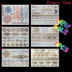 6 PCS/ lot temporary tattoo women gold tattoo flash tattoos transferable jewelry henna tatoo body art sex product stickers tatto