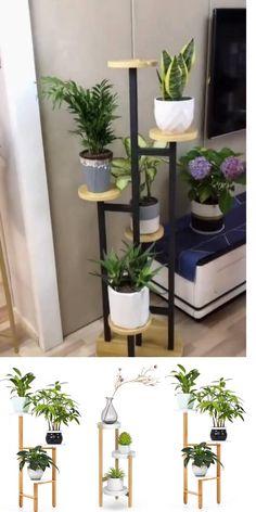Tall Plant Stands, Diy Plant Stand, Tall Plant Stand Indoor, Modern Plant Stand, Plant Shelves, Shelves With Plants, Corner Plant, Diy Crafts For Home Decor, Dressing Room Design
