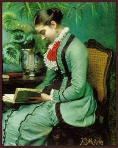 ✉ Biblio Beauties ✉ paintings of women reading letters and books - An afternoon's reading - Felix Milius (1843–1894)