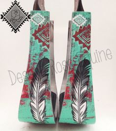 Mint Aztec Feather Stirrups by Desert Rose Equine - Ranch Dress'n