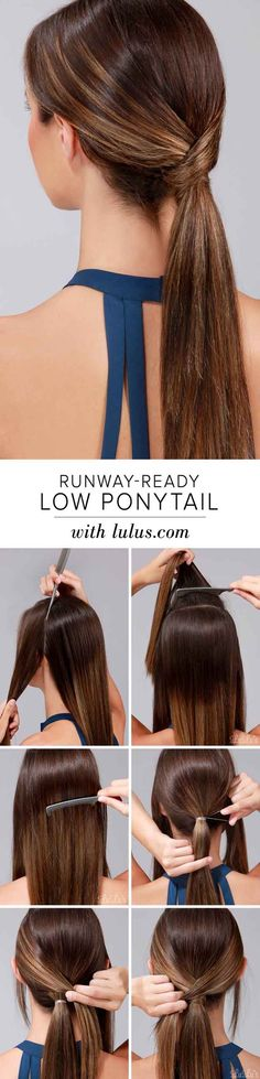 Quick and Easy Hairstyles for Straight Hair - How To Runway Ready Low Ponytail - Popular Haircuts and Simple Step By Step Tutorials and Ideas for Half Up, Short Bobs, Long Hair, Medium Lengths Hair, Braids, Pony Tails, Messy Buns, And Ideas For Tools Like Flat Irons and Bobby Pins. These Work For Blondes, Brunettes, Twists, and Beachy Waves - http://thegoddess.com/easy-hairstyles-straight-hair