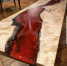 River table bespoke - Epoxy resin table tops - A unique table one of a kind made to order only. ( please note the picture is of a table sold . Epoxy Table Top, Epoxy Wood Table, Epoxy Resin Table, Wooden Tables, Into The Woods, Bancada Epoxy, Resin Crafts, Wood Crafts, Wood Projects