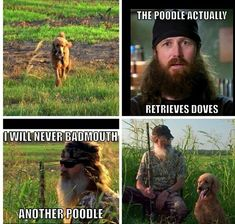 Si's poodle. Duck Dynasty.  There they go, knocking the poodle and having no idea that that's what those dogs were bred for. Some of the best hunting dogs ever. #poodlefunny