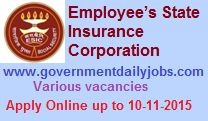 ESIC RECRUITMENT 2015 IMO VACANCIES ~ Government Daily Jobs