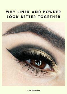 Liner + powder = the perfect cat eye   #eyeliner #makeuphack #makeupartist