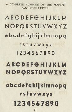 A Complete Alphabet of the Modern Sans Serif Letter, 1949. #vintage #typography