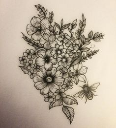 floral tattoo design, amazing shading and would look awesome on an upper thigh or rib cage, instagram photo by Rebecca Vincent, pin: morganxwinter