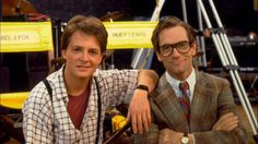 Micheal J. Fox and Huey Lewis on the set of Back to the Future