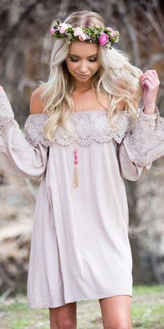 Dress, Taupe, Crochet, Short, Off the shoulder, Long sleeve, Ruffle, Cute, Fashion, Online Boutique - Modern Vintage Boutique