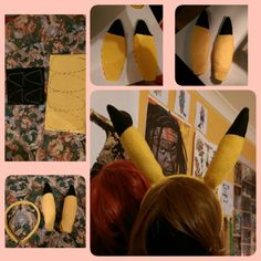 DIY Cosplay Pikachu ears. How I made them out of felt and attached to a headband :) www.facebook.com/stephmeeow