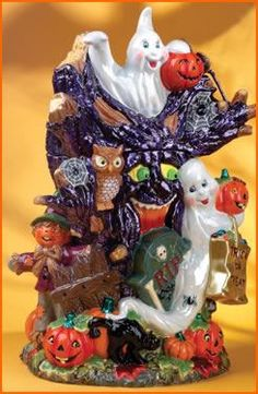 Black Cat and Halloween Cookie Jars : Radko Hoot N' Howl  2002