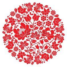 Kalocsai art populaire broderie - motif rouge hongrois rond populaire floral photo