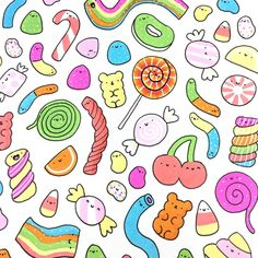 """Happy National Candy Day 🍬🍭💕 What's your favorite candy? I love those sour rainbow belts 🏳️🌈😋 and German Haribo """"Balla Balla"""" (the blue long one 😉💙) Can you tell from this doodle what my favorite Jelly Bean Flavor is? Kawaii Drawings, Doodle Drawings, Easy Drawings, Doodle Art, Kawaii Doodles, Cute Doodles, Kawaii Art, National Candy Day, Candy Drawing"""