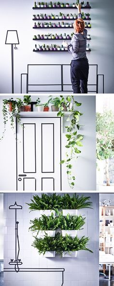 Gardens don't just have to be for windows or outdoor areas - think outside the box and create DIY gardens all over your home. Use shelves to create a living art wall, bring life to empty spaces like the area above a door, and create a thriving rainforest in your bathroom.
