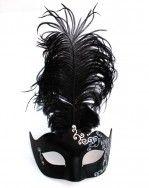 Women's Black & Silver Venetian Swirl Masquerade Mask