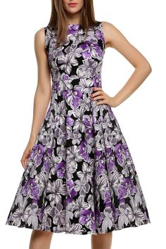 Gradient Purple 1950s Sleeveless Floral Print Party Cocktail Evening Pleated Swing Dress