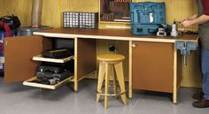 Wood Magazine - Woodworking Project Paper Plan to Build Tough-Stuff Workbench Buy Tough-Stuff Workbench Plan at Woodcraft Workbench Plans, Woodworking Workbench, Woodworking Workshop, Woodworking Furniture, Workbench Top, Woodworking Logo, Industrial Workbench, Woodworking Store, Woodworking Joints
