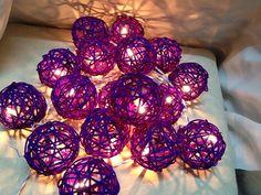 Dark Purple Rattan Ball String Light Wedding Fairy Light by Nisa33, $13.99