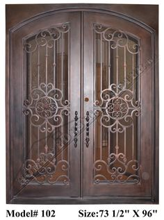 """Our doors made of steel with ½"""" to ¾"""" wrought iron for design work, also includes double-pane tempered glass panels that open independently from . Wrought Iron Security Doors, Wrought Iron Doors, Iron Front Door, Double Front Doors, Iron Staircase Railing, House Window Design, Grill Door Design, Double Door Design, Iron Gate Design"""
