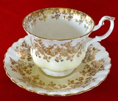 It has a yellow blush undertone with Gold flora Trim on both cup & the saucer. The bottom of the cup and saucer both have a black Royal Albert stamp on them. It is in excellent condition with no chips or cracks. | eBay!