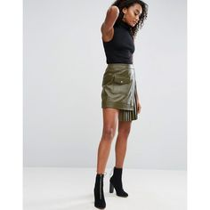 ASOS Leather Skirt with Pleated Sides (196 AUD) ❤ liked on Polyvore featuring skirts, mini skirts, green, short wrap skirt, short mini skirts, green mini skirt, high-waisted skirts and wrap skirt