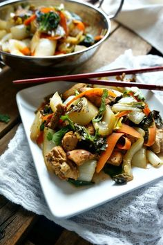 Stir-Fried Chicken and Bok Choy: 15 minutes is all you need to create this Asian inspired main course stir-fry that is full of veggies and a sweet and spicy sauce. This dish is full of flavor, yet light on the waist line!