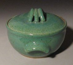 Stoneware pottery casserole by Sue Burdick Young, Jay NY