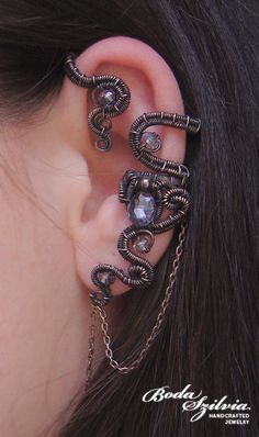 almost but not quite steampunk but close enough for me ear wire wrap by bodaszilvia ----> szilviabead.devia...