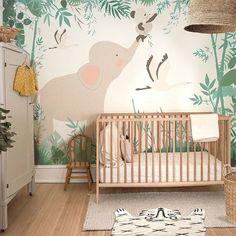 Jungle Theme Nursery, Nursery Room Decor, Bedroom Themes, Zoo Nursery, Themed Nursery, Jungle Safari, Baby Nursery Wallpaper, Kids Room Wallpaper, Little Hands Wallpaper