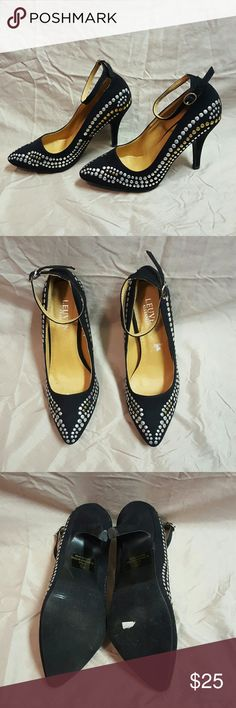"""🛍SALE🛍Studded Ankle Strap Pumps Heels These shoes are made entirely of man-made materials. Faux sueded, black with gold and silver stud designs. 4"""" heels. Adjustable ankle straps. Size 7.5. Never worn. Leuvan Alexander Shoes Heels"""