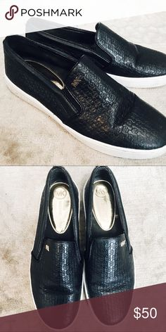 Michael Kors Collection Embossed Slip-On👑 Good condition - Embossed black leather with gold MK detail! Michael Kors Shoes Sneakers