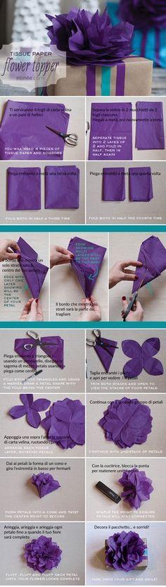 Tutorial di carta velina per decorazioni, pacchetti regalo, bomboniere - Tutorial www.elli.com