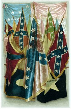 Famous Confederate Battle Flags 1. From Bragg's Army 2. Forty second Miss. Reg't. 3. Twelfth Miss. Cavalry 4. Ninth Texas Reg't. 5. Austin's Battery 6. So. Carolina Flag 7. Texas Black Flag    8. Virginia Flag