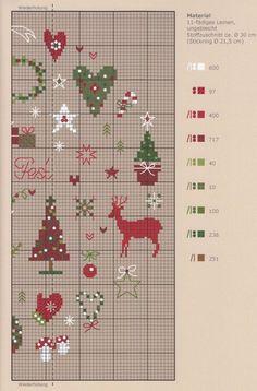 Noël Xmas Cross Stitch, Cross Stitch Christmas Ornaments, Cross Stitch Kitchen, Cross Stitch Heart, Christmas Embroidery, Christmas Cross, Cross Stitching, Cross Stitch Embroidery, Embroidery Patterns