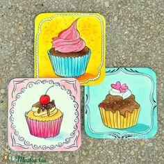Cupcake - hűtőmágnes készlet 3 db-os (colorshop) - Meska.hu