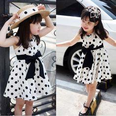 2-7Y Baby Girls Princess Dress Kids Polka Dots Formal Party One-Piece Tutu Skirt
