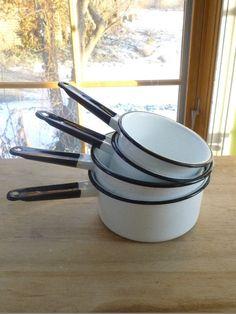 Vintage White and Black Enamelware Sauce Pans~Speckled finish